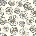 Neutral floral seamless vector pattern with colour splashes on a subtly flecked background. Hand-drawn with modern urban