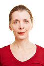 Neutral frontal female senior face Stock Photography