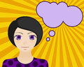 Neutral woman face. Manga style. Comic girl with speech bubble for your text Royalty Free Stock Photo