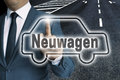 Neuwagen in german New car car touchscreen is operated by man