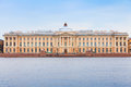 Neva river coast imperial academy of arts st petersburg russia march and facade it was built in by jean baptiste vallin de la Royalty Free Stock Photography