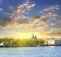 Neva river scape and the Church of the Savior on Spilled Blood Royalty Free Stock Photo
