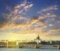 Neva river scape and the dome of St Isaac's Cathedral in Saint P Royalty Free Stock Photo