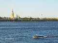 Neva river in st petersburg landscape with the image of russia Stock Images