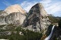 Nevada falls, Half Dome and Liberty Cap, Yosemite Royalty Free Stock Photo