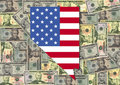 Nevada with flag and dollars Royalty Free Stock Image