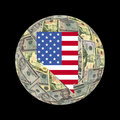 Nevada map flag on dollars Royalty Free Stock Photo
