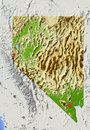Nevada, shaded relief map Royalty Free Stock Photography
