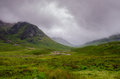 Nevelig schots landschap in glencoe Stock Fotografie