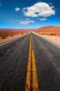 Never ending road to death valley california sunny desert Royalty Free Stock Photos