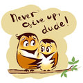Never give up birds friends dude encourage Stock Photo