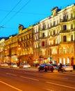 Nevsky night cityscape, Saint Petersburg Royalty Free Stock Photo