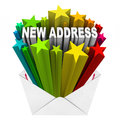 New address envelope letter mail notice the words in colorful stars shooting out of a or as that you have moved into a different Stock Photo