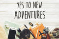 New adventure text sign concept. say yes to new adventures. time Royalty Free Stock Photo