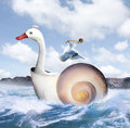 New adventure two friends a white goose and a sea gull shipmates travel a choppy wavy body of water to an unknown destination the Royalty Free Stock Images