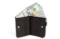 New american money dollars in leather purse isolated Royalty Free Stock Photo