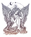 Girl angel with long wavy hair falling down.