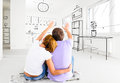 New apartment couple at their empty Royalty Free Stock Photography