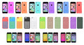 New apple iphone c collection with cover case in various colors Royalty Free Stock Images