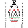 New arrival advertising with optical eye test Royalty Free Stock Photos