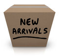 New arrivals cardboard box latest products merchandise the words written on a full of the and newest and delivered to the store Royalty Free Stock Photos