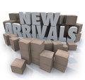 New arrivals cardboard boxes items merchandise products many with the words to illustrate or other for sale arriving at a store or Royalty Free Stock Photo