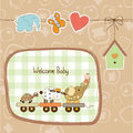 New baby announcement card with animal s train illustration in format Stock Photos