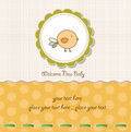New baby announcement card with chicken Stock Photography
