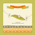 New baby announcement card with pea been Royalty Free Stock Photo