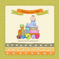 New baby announcement card with toy train Stock Photo