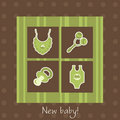 New baby arrival card Royalty Free Stock Image