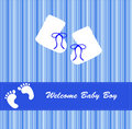 New Baby Boy Bootees Card Stock Image
