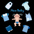 New baby crying and clothes Royalty Free Stock Photography