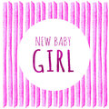 New baby girl. Watercolor creative greeting cards template. Retro style background. Element design for posters, stickers, banners, Royalty Free Stock Photo
