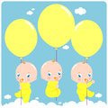 New baby triplets three cute newborn flying in the sky holding balloons Royalty Free Stock Photo