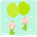 New baby twins cute newborn flying in the sky holding balloons Stock Photo