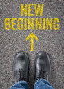 New beginning text on the floor Stock Photography