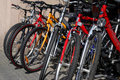 New bicycles on the street market Stock Photography