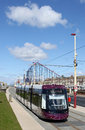 New Blackpool Tram near Pleasure Beach. Royalty Free Stock Photo