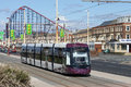 New Blackpool Tram near Pleasure Beach. Stock Photos