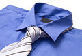 New blue man's shirt and tie Royalty Free Stock Photo