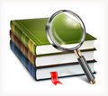 New books and magnifying glass on white background vector illustration Royalty Free Stock Photography
