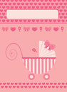 New born baby girl greeting card pink Royalty Free Stock Photos