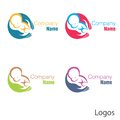 New born baby logo hand for health care hospitals fertility centers pediatrics etc can be used Stock Images