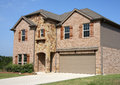 A new two floors brick house in suburban