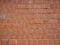 New brick wall built of red bricks on mortar. Background for construction work. Royalty Free Stock Photo
