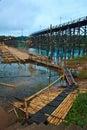The new bridge which built to temporarily used instead of Utamanusorn bridge or Morn bridge, Thailand Stock Photos