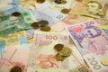 New bright ukrainian money banknots background Royalty Free Stock Photo