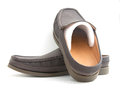 New brown slip on casual shoes over a white background Stock Photo