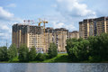 New buildings in dolgoprudny moscow region russia july construction of residential on the banks of canal about millions square Royalty Free Stock Image